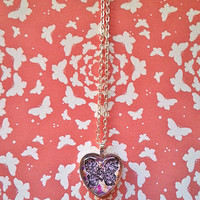 Butterfly - Splatter - glass dome heart necklace for tween or teen girl
