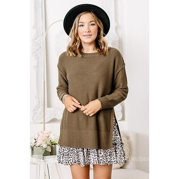 Let's Get It Olive Sweater Knit Top
