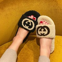 GUCCI Button double g wool slippers
