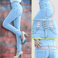 Fashion Women High Waist Skinny Jeans