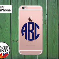 Navy Blue Monogram Letters Initials Circle Custom Clear Rubber Phone Case for iPhone 5/5s and 5c and iPhone 6 and 6 Plus + and iPhone 6s