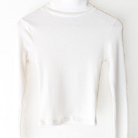 Ribbed Knit Turtleneck Crop Top