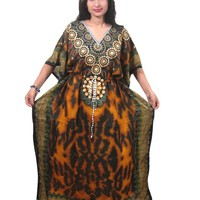 Womens Mogul Kaftan Gold Caftan Moroccan Dress Muumuu