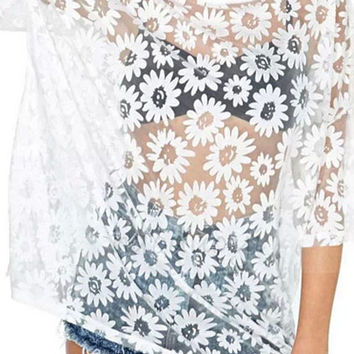 ROMWE Daisy Shaped Embroidered Lace Transparent White Blouse