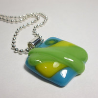 Glass Necklace Pendant - Yellow Flower