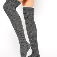 ASOS Mix Knit Over The Knee Tipped Socks