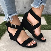 Lolita Ankle Wedges in Black