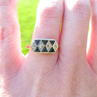 Sweet Vintage to Antique 18k Gold Diamond and Sapphire Ring - Old Rose Cut Diamonds - Triangular Blue Sapphires - Dainty and Deco