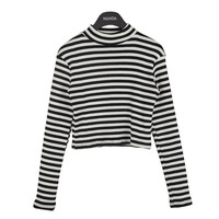 Striped High Neck Crop Shirt by Stylenanda