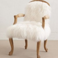 Luxe Fur Occasional Chair by Anthropologie in White Size: One Size Furniture