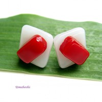Red and White Square Handmade Stud Post Earrings - Fused Glass