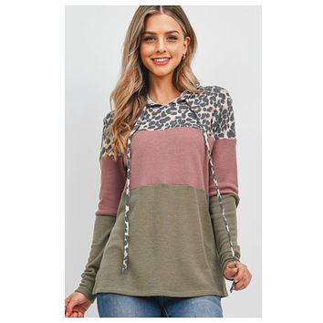 Adorable ColorBlock Leopard Contrast Olive Mulberry Hooded Top