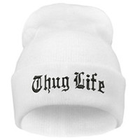 THUG LIFE Letter Embroidered Unisex Beanie Fashion 2pac Hip Hop Mens & Womens Knitted White & Black Tupac Cuffed Skully Hat