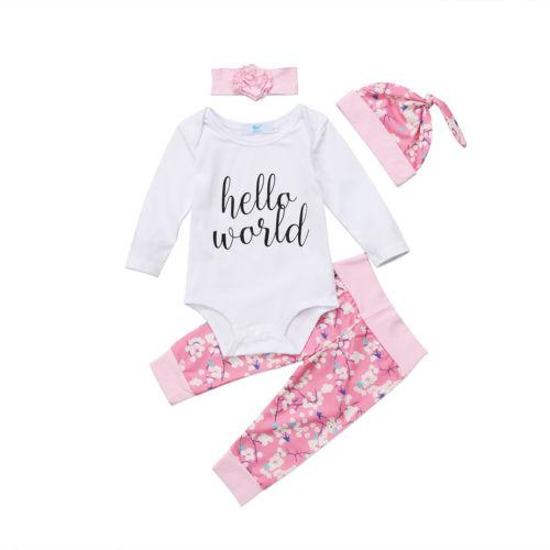 Image of 4PCS Newborn Baby Girl Clothes Hello World Tops Romper+Floral Long Pants+Hat Outfits Clothing Set 0-24M