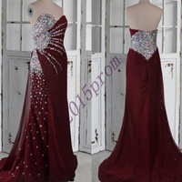 Long Burgundy Sweetheart Stunning Beaded Sequined Prom Dresses,Long Chiffon Party Dresses,Burgundy Homecoming Dresses.2015 Formal