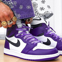 Nike Air Jordan 1 Retro High Court Purple White Basketball Shoes Sneakers Shoes