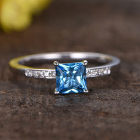 5mm Princes Cut Swiss Blue Topaz Engagement Ring With Diamond 14k White Gold Stacking Band