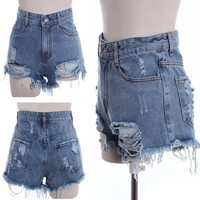 New Women Retro High Waisted Shorts Jeans Ripped Tassel Hole Short Denim Pants D_L = 1712906948