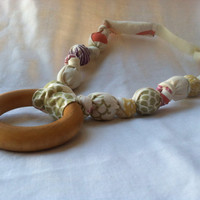 ORGANIC Earthtone Nursing Necklace, With or Without Wooden Ring, Cloud 9 fabrics, Breastfeeding Necklace, Fall Inspired