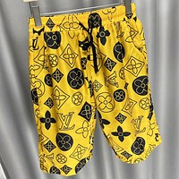 LV Fashion New Monogram Print Women Men Shorts Yellow