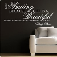 Marilyn Monroe White Keep Smiling - WALL STICKER DECAL QUOTE ART MURAL Large Nice