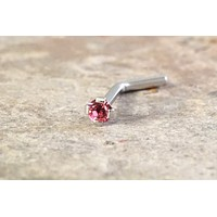 18g or 20g Tiny Pink Crystal Nose Bone Stud