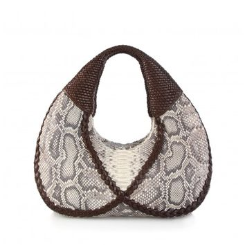 Circle & Square | Infinity Hobo Natural Python and Chocolate Lambskin