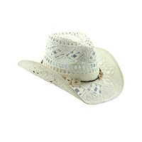 White Straw Cowboy Hat With Shell Buttons - Shapeable Brim