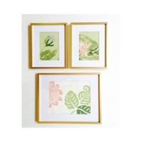 Botanical Wall Art, Textile Wall Art, Pink Green Tropical  Pattern in Gold Frame, Art Set of 3 Framed and Ready to Hang