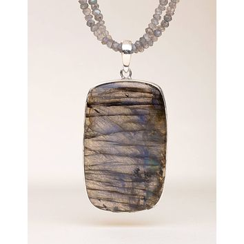 Labradorite Beaded Pendant Necklace - One of a Kind