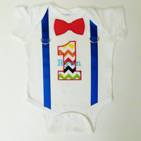 First Birthday Onesuit Suspenders Personalized Chevron Bow Tie 1 For 1st Birthday Boy
