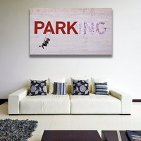 Banksy Parking Wall Art Canvas Print - Girl in Swing on Parking Quote Printing - Deleted Text Street Art Graffiti Printable Painting