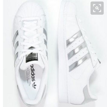 """Summer11""""Adidas"""" Fashion Shell-toe Flats Sneakers Sport Shoes White silver line"""
