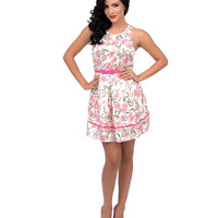 Light Pink Floral Belted Fit N Flare Dress