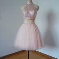 Beaded Two Piece Dress Sexy Light Pink Tulle Short Homecoming Dress, Prom Dress, Graduation Dress