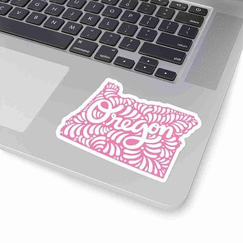 Oregon State Shape Sticker Decal - Pink