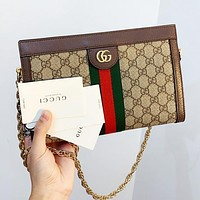 GUCCI Fashion Women Shopping Leather Classic Stripe Satchel Crossbody Shoulder Bag