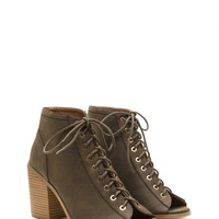 Pin Down Lace-Up Chunky Booties