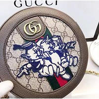 GUCCI Fashion New Embroidery Letter More Letter Leather Shoulder Bag Women
