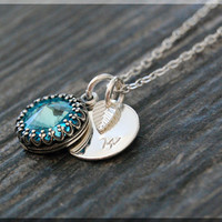 Turquoise December Birthstone Necklace, Silver Initial Charm Necklace, Personalized Birthstone Necklace, December Swarovski Charm