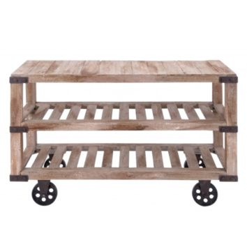 Industrial Rolling Wood Console Cart Coffee Table