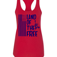 Land of the Free USA Flag and Lady Liberty - 4th July - Independence Day - Labor Day - Memorial Day - Patriotic  Tee or Tank