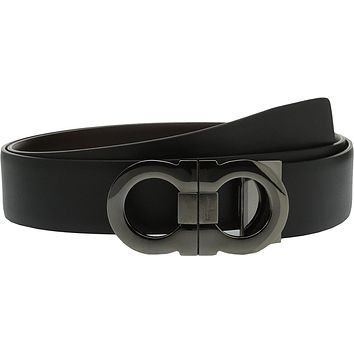 Salvatore Ferragamo Men's Double Adjustable Belt - 679694 Black/Hickory Belt