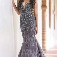 Long Embroidered Strapless Mermaid Style Jovani Prom Dress