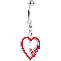 Red and White Acrylic Heart Full of Love Dangle Belly Ring | Body Candy Body Jewelry