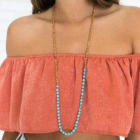 Tribal Beads Necklace in Turquoise