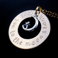 Personalized Moon Washer Necklace, Gold Silver Handstamped Mixed Metals, Love You To The Moon & Back, Valentines Mothers Day, Mommy Jewelry,