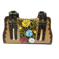 Handmade, handpainted luxury leather handbag with traditional Mexican design
