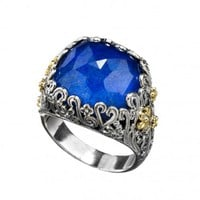 Gerochristo 2837N ~ Solid Gold & Silver Medieval Cocktail Ring with Doublet Stone