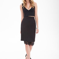 FOREVER 21 Lace-Trimmed Pencil Skirt